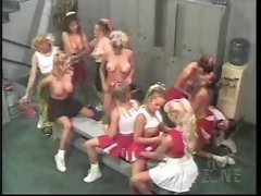 Many cheerleader babes playing in locker room