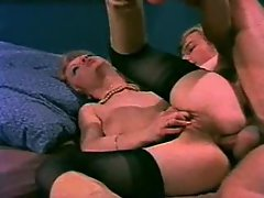 Retro blowjob and group anal porn