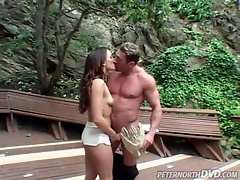 Outdoor fuck with a pretty brunette slut