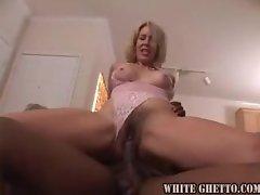Blonde milf in pink lace devours black guy