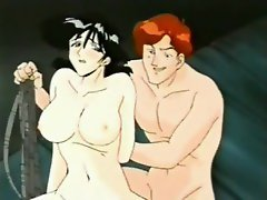 Hentai threesome with a tied up slut getting used