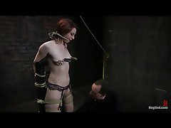 Tied up and gagged while her pussy is vibed