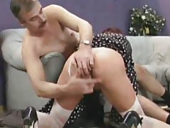The old slut eats dick and is fingered