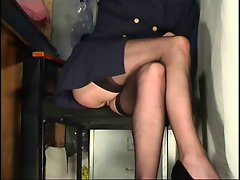 Office girl stockings upskirt