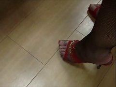 Fishnet stockings red muies and upskirt