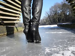 totally leather: walking on ice in high heels boots