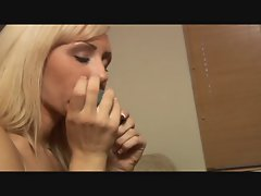 Blonde Girl with Blue Vibrator Jerkoff Instruction