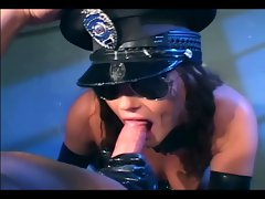 Brunette in uniform fucking in latex lingerie and gloves