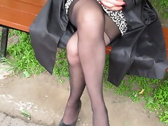 Girl check her stockings