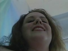 fat girl on bed masturbates solo
