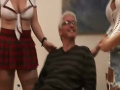 Grandpa gets jerked by CFNM babes