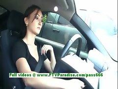 Sandra amateur brunette driving a car and public tits flashing