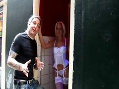 Horny amsterdam blonde hooker in stockings
