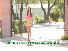 Cassidy lovely brunette teenage posing and shows tits outdoor