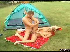 Cum loving horny blonde temptress nasty outdoor fucking session