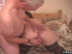 Naughty big tits granny and horny grandpa filthy pounding session