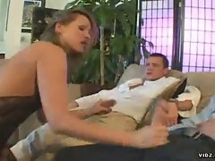 Horny chicks sucks on two big cocks and gets ass fingered