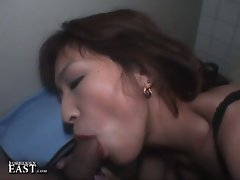 Horny japanese babe sucking hard cock in hot blowjob video