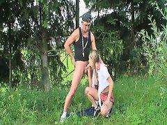 Schoolgirl outdoor fucxercise