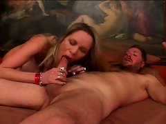 Horny big boobies milf serving huge cock in mouth and wet pussy