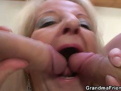 Two party boys nail blonde grandma