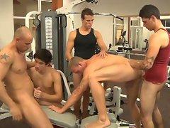 Hot jocks cooling up after workout enjoy hardcore gay orgy fuck