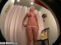 Young blonde on dressing room spy cam