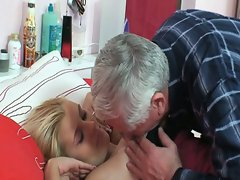 Horny grandpa repairman fucking fresh blonde tight pussy