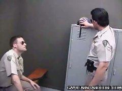 Cock slurping cops in locker room