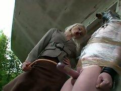 Sadista syonera von styx tortures dudes cock