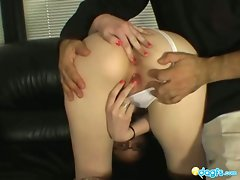 Sara bends over and gets fingered