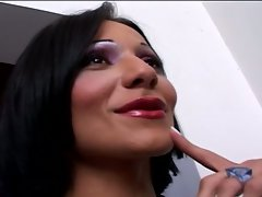 Horny brunette shemale slut fucked by a hard cock