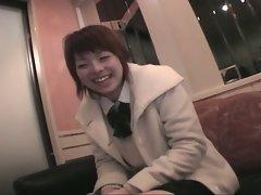 Cute highschool horny japanese slut plays pussy before fucking