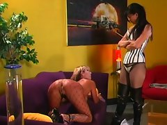 Luscious lesbian angels in stockings ass spanking session