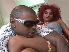 The redhead ebony slut get hard fucked by a big black dick