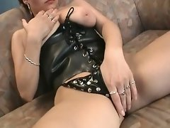 Sexy brunette in hot fetish blowjob