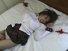 Asian schoolgirl gets tied up