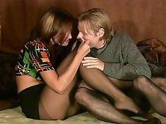 Kondrat was waiting for Lyalya and put on black pantyhose to surprise...