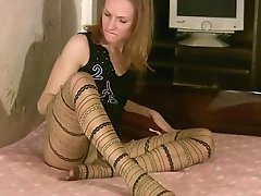 This beautiful pantyhose lover girl feels horny by just seeing...
