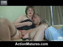 Stacked mom gives head to a young stud for muff-diving and intense...