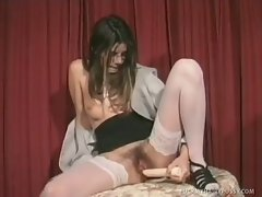 Creamy white honey, Gina masturbates her hairy muff with a monster...