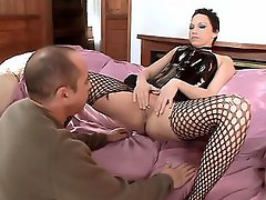 Nicki Hunter spreading her stocking clad thighs on the couch was the...
