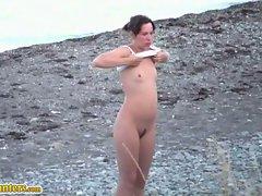Nudist beach camp...