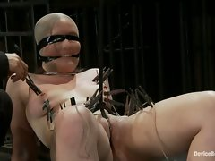 Two friends bound in a brutal double bind!  One girl moves the other...