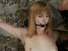 Sexy blond amazon at 5'11 suffers though some old fashion pain....