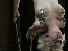 Sexy blond with amazing natural body, suspended, punished with canes...