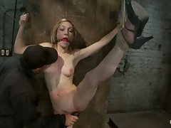 Tall leggy, blond is bound spread and helpless, made to cum over and...