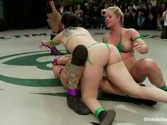 4 tough bitches battle in non-scripted Tag Team Action. Devastating...