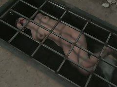 Petite brunette is bound and abused in an underground dungeon...