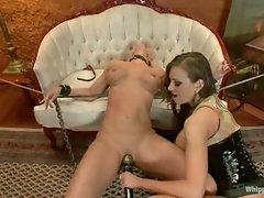 Busty women in rough lesbian bondage sex....